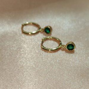 Argollas mini con cristal verde