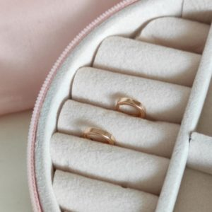 Argollas mini baño de oro 1 cm rose gold