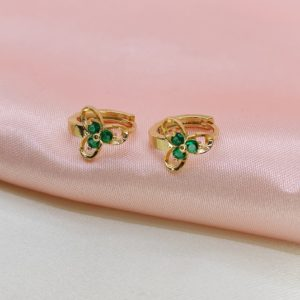 Argollas mini con piedras verde flor