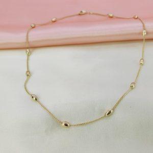 Collar cadena con ovalos color gold rose