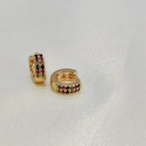 Argollas mini puntos de colores (medida 1 centímetro)