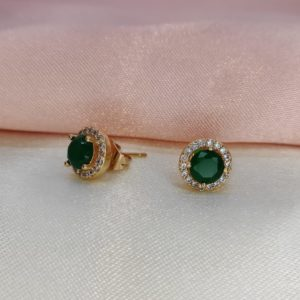 Aretes Topos con brillo y verde